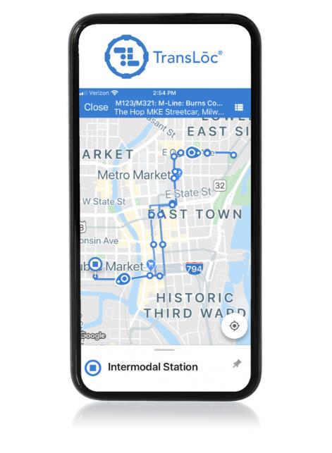 Transloc Rider app displayed on a smartphone