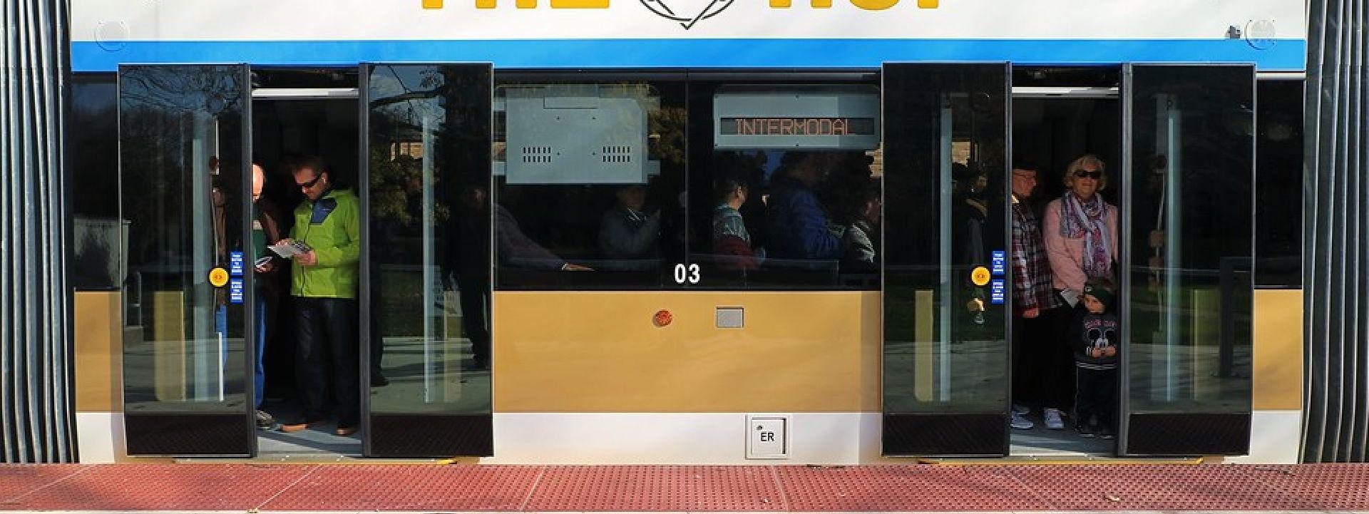 Streetcar with doors opening