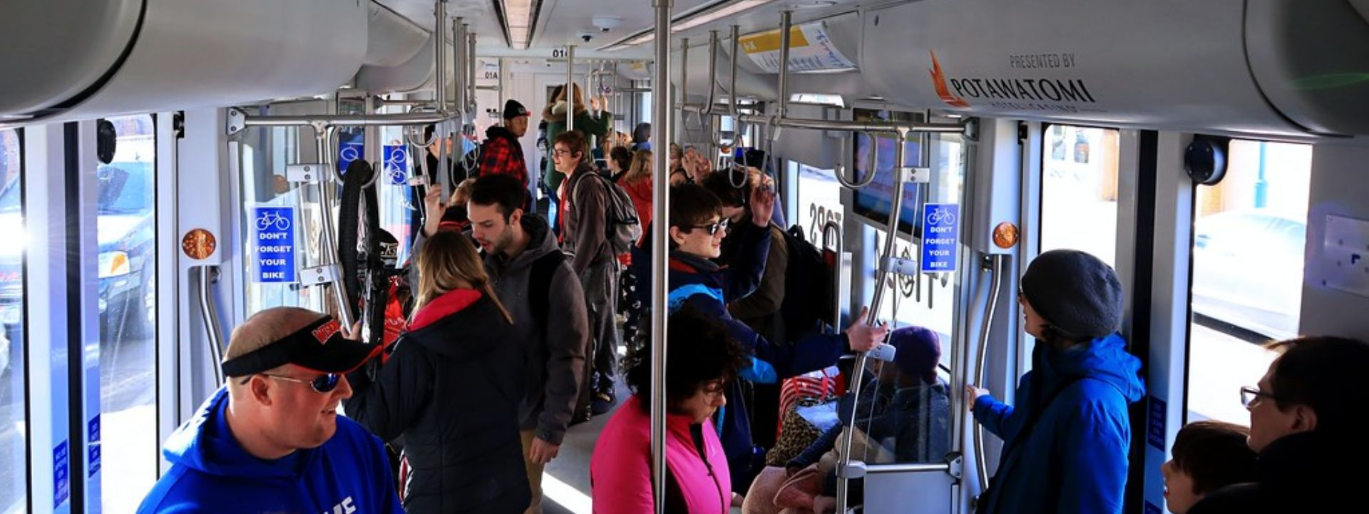 Riders inside a streetcar