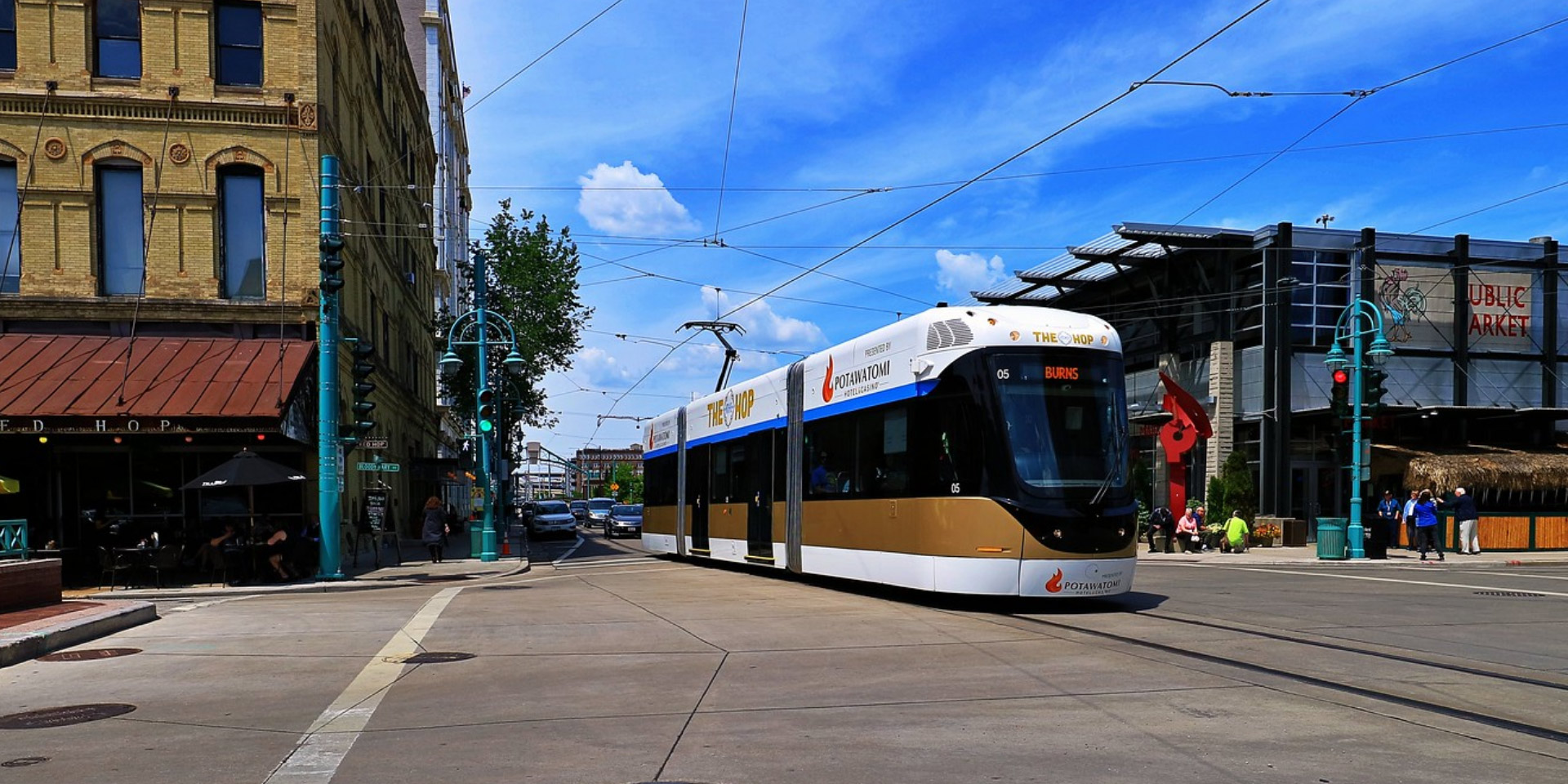 Streetcar with overhead wires